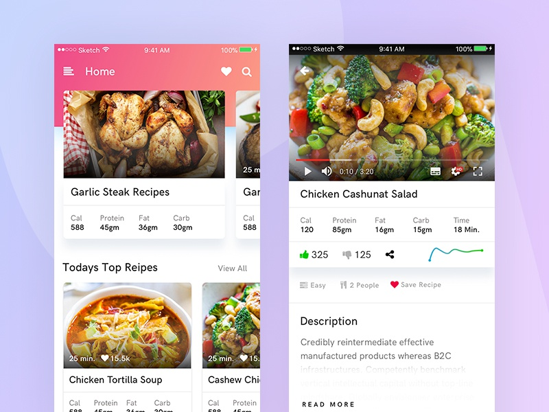 Recipes chart mobile app recipes video ux ui exploration foods