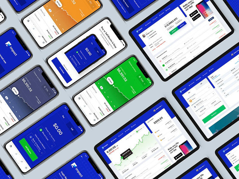 Impact—a crypto platform bank iphonex bitcoin services case study gif app design ux ui cash money market data charts chart dashboard app btc crypto trading crypto wallet crypto bitcoin