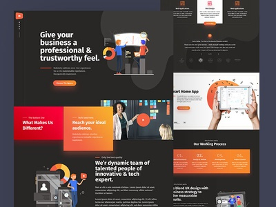 Creative Agency Landing Page dark ui illustration agency portfolio homepage user experience user interface web design creative ux ui