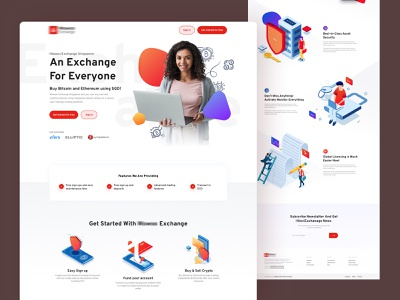 Bitcoin Exchange steps landing page crypto cryptocurrency crypto exchange eth trading bitcoin exchange illustration clean homepage user experience user interface web design creative ux ui bitcoin services bitcoin