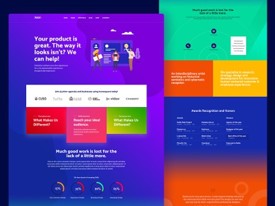 Bad UX Good UI illustration art skills yellow gree blue red colorful illustraion corporate agency portfolio homepage user experience web design user interface creative ux ui