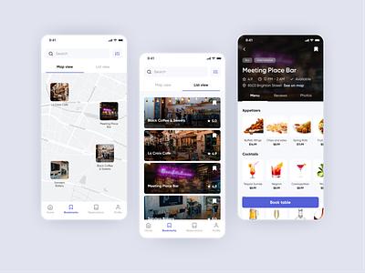 Table Booking & Online Ordering App Concept - More Screens design concept clean menu map bookmarks trendy order restaurant food mobile app ux ui