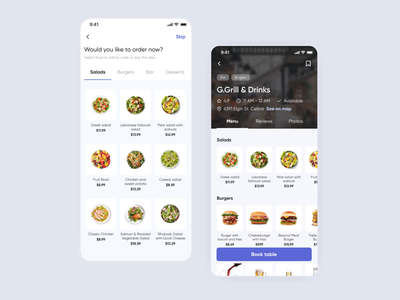 Table Booking & Online Ordering App Concept - Ordering Food clean add to cart menu restaurant order food animation trendy concept design mobile app ux ui