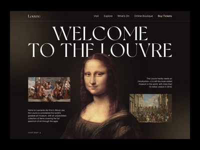 Louvre Museum Landing Page — Animated web clean minimal landing page gallery louvre art museum trendy animation design concept ux ui