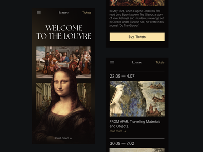 Louvre Museum Landing Page — Mobile gallery landing page typography exhibition museum art mobile trendy clean design concept ux ui
