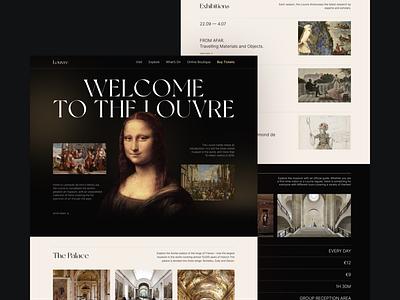 Louvre Museum Landing Page — More Screens louvre exhibition elegant typography museum art gallery web trendy design concept ux ui