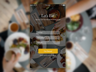 Day 001 - Signup Form food interface elements mobile form signup dailyui