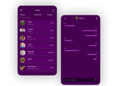 Chat Application Design- Dark Theme