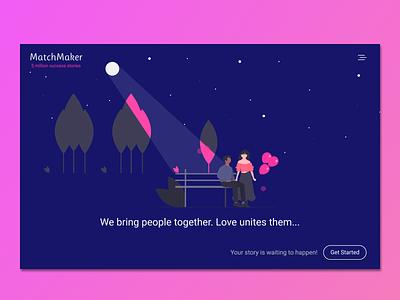 MatchMaker- A Dating Website dailyui matchmaker minimal matching dating website dating website illustration ux figmadesign ui figma design