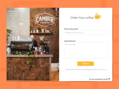 Coffee ordering screen