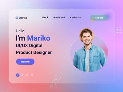 Header UI Exploration - Landing Page Design🔥 agency landing page colorful design typography digital agency design uxdesign ux ui minimal clean design web design graphics design
