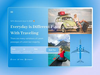 Travel & Trip Landing Page UX-UI Design 💖 psd template design colorful design digital agency uxdesign minimal clean design agency landing page typography ux ui web design graphic design