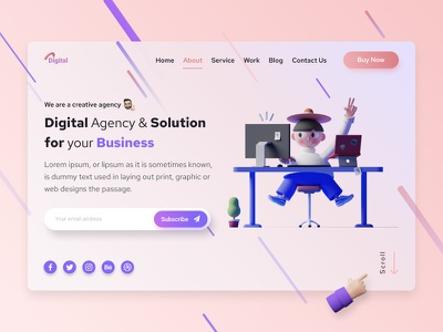 Digital - Web Header Hero UI Exploration 🔥 digital agency banner design graphics design psd template design typography minimal clean design agency landing page design ux ui web design