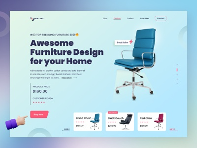 Furniture Shop Website Header - Ui Exploration logo agency landing page psd template design typography minimal clean design design ux ui figma design photoshop design web design graphic design