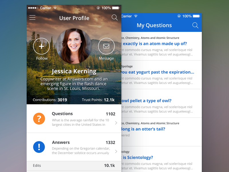 iOS User Profile update by Nic Weber - Dribbble