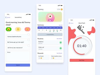 Somni feedbackplease kids app kid iphone ios bedtime routine sleep autism beginner webdesign illustrator figma app ux ui design