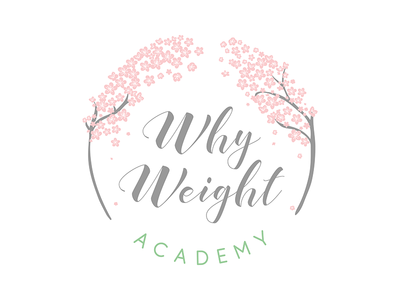 Why Weight Logo Design by Cheyney logo designer nutritionist nutrition japanese japan sakura bloom cherry blossom cherry typography branding logo minimal colour illustrator flat illustration vector design