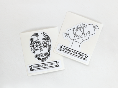 Gringas Stickers Designed by Cheyney branding logo sticker gringas mangawhai new zealand buritto sugarskull inspired mexican stickers illustration vector design