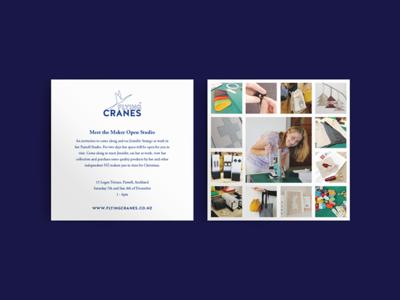Flying Cranes Flyer new zealand craft nz flying cranes pamphlet logo illustrator flat illustration vector design