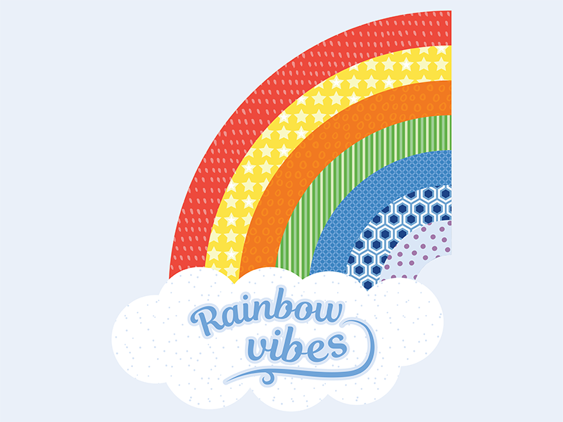 Rainbow Vibes surface pattern design pattern illustrator bright color bold color vector illustration flat colour design bold colourful bright positive vibes positive pride lgbtqia lgbtq lgbt rainbow