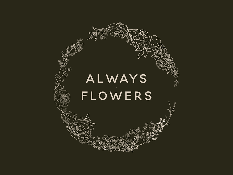 Always Flowers Logo floral art green logo design flower logo pretty flowershop company delicate flowers floral logo branding feminine design illustrator illustration bold colour flat vector design