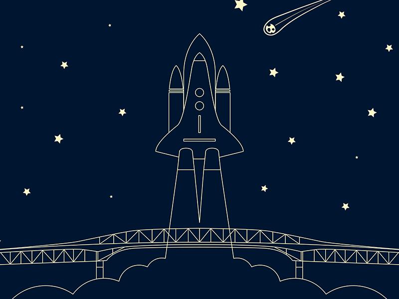Auckland Harbour Bridge minimal colour bold illustrator illustration vector flat design new zealand nz sky night stars asteroid launch rocket icon bridge harbour auckland