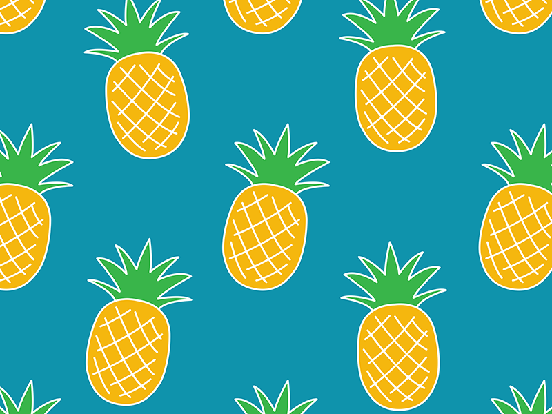 Pineapple Pattern tropical summertime fun summer surface pattern design logo fruity fruit powerful pattern bright color bright bold color illustrator bold colour flat vector illustration design