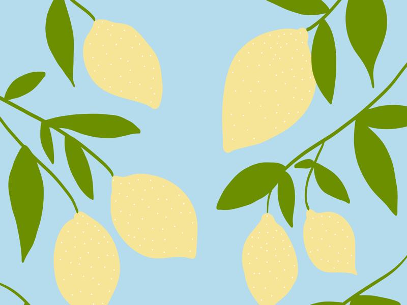 Hand illustrated lemon tree pattern green yellow pattern art pencil apple drawing draw adobe branches trees tree leaves lemons sky blue lemon illustrated illustration hand. drawn