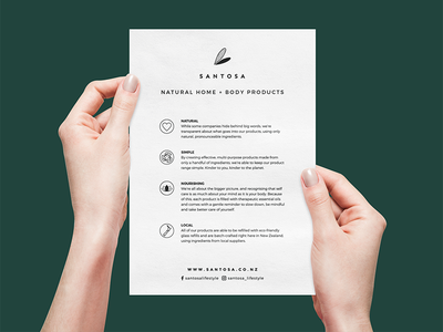 Santosa A5 Flyer minimalistic minimal layout information information design icons print paper products body home flyer artwork flyer design a5 flyer illustration flat vector design