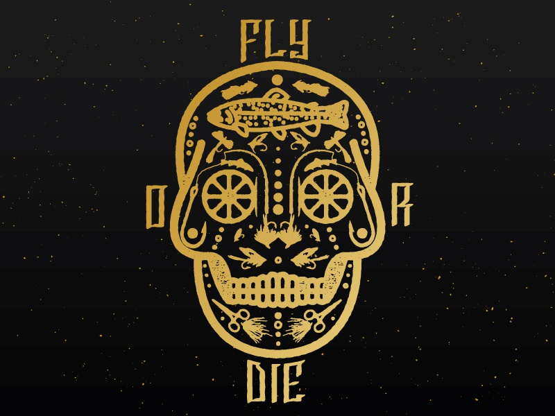 Fly Or Die sticker logo skull fly fishing fishing outdoors