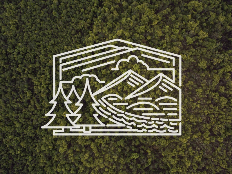 The Mountains are Calling sticker logo river mountains trees adventure outdoors