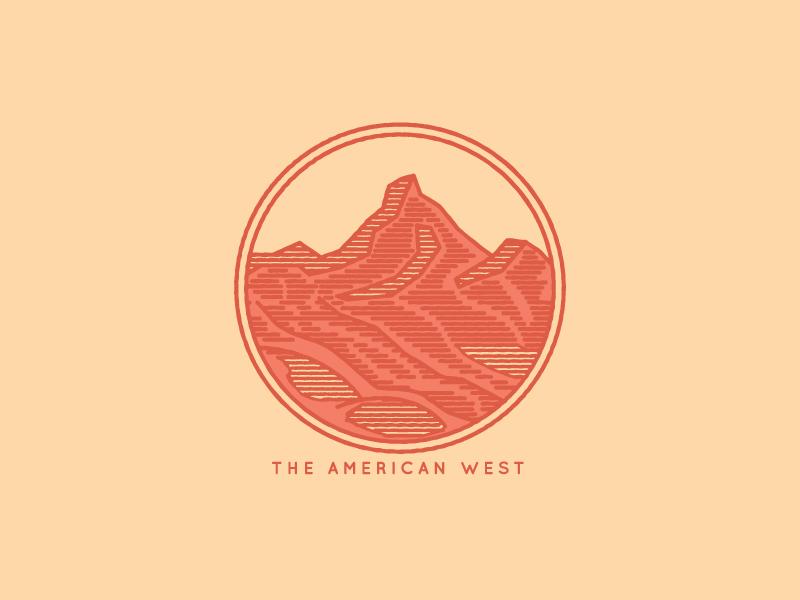 The American West  sticker logo lines adventure outdoors desert mountains