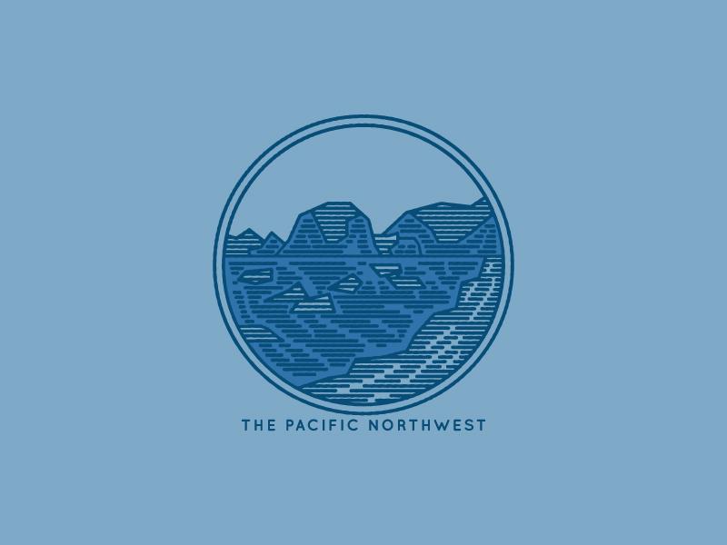 PNW design logo sticker pnw ocean mountains adventure outdoors