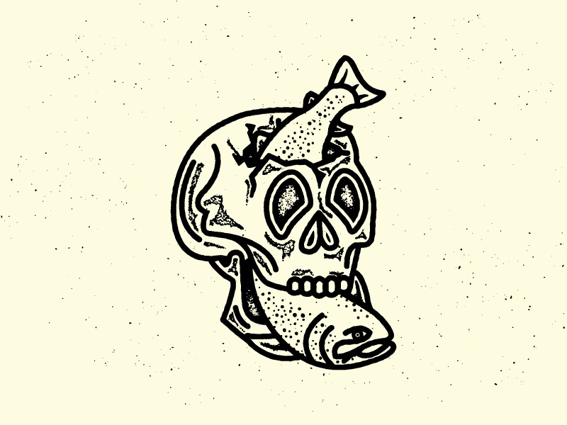 Tasty... illustration fish skull grunge texture sticker logo outdoors flyfishing fishing