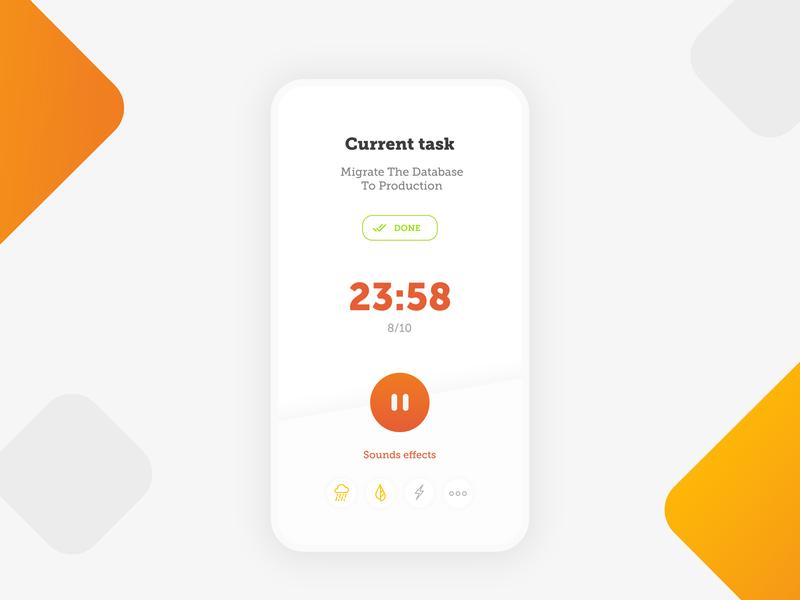 Productivity timer clean app design timer productivity app pomodoro