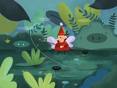 Lakeside fishing 人物 design illustration