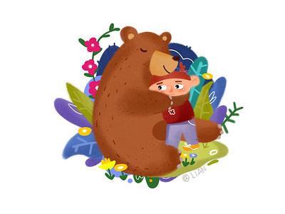 The embrace of spring logo flat 包装 illustration