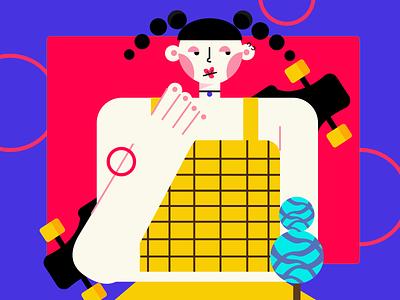 画板女孩 typography 设计 logo 版式 ui illustration