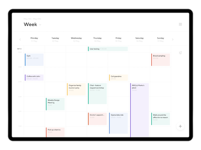 Weekly Planner — Web App principle figma white clean application app web app minimal minimalism animated typography animation sketch ux ui