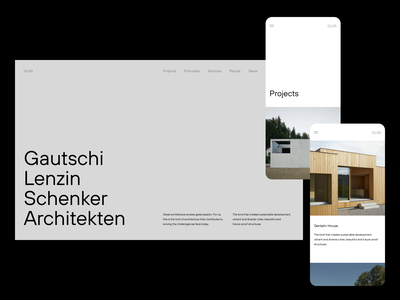 GLSA — Homepage & Projects ux ui sketch figma graphic design animation animated minimal minimalism brutalism exploration art direction layout exploration layout website architecture architect architects