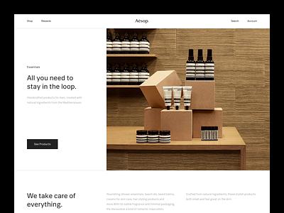 Aesop® — Homepage aesop brutalist brutalism e-commerce ecommerce layout website animated animation minimalism minimal exploration layout exploration art direction type typography sketch figma ux ui