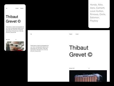 Thibaut Grevet — Website website minimal photography brutalism editorial art direction layout exploration layout minimalist minimalism type typography figma sketch ux ui portfolio portfolio website photographer