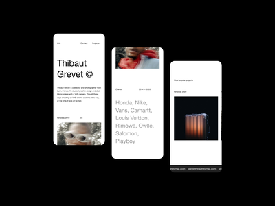 Thibaut Grevet — Mobile Website photographer portfolio website portfolio ux ui sketch figma typography type minimalism minimalist layout exploration layout art direction editorial brutalism photography minimal website