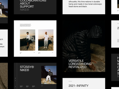 NIKE® × STUSSY® — Exploration [Canvas] brand branding aftereffects type editorial layout exploration art direction e-commerce brutalism layout website figma minimal animated minimalism typography animation sketch ux ui