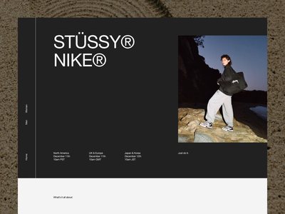 NIKE® × STUSSY® — Exploration [Web scroll] editorial type layout exploration art direction brutalist brutalism aftereffects layout website minimal animated minimalism typography animation sketch ux ui
