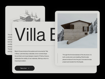 Villa Brezo — Components architecture landing page graphic design modernism brutalism editorial art direction layout exploration type exploration type typography animation sketch ux ui layout illustration website minimal animated