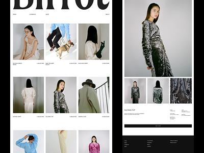 Birrot — Collection redesign branding fashion brutalism type exploration layout exploration art direction minimalist type layout website minimal animated minimalism typography animation sketch ux ui