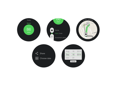 Moves for Android Wear [screens] facebook ui ux free psd app android mockup moto 360 moto360