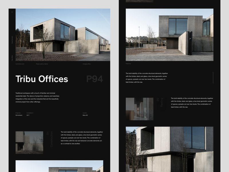 Tribu Offices [Website — 002] design mockup ui ux sketch modernism type typography website minimalism minimal black brutalism architecture web layout