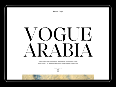 Vogue Arabia - Desktop Website fashion website artdirection ux ui art direction editorial design editorial minimalism minimalist typography minimal type layout layout exploration layout design photograhy photography website